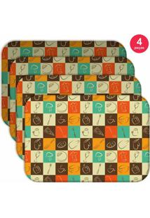 Jogo Americano Love Decor Wevans Quadriculado Kit Com 4 Pçs