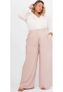 Calça Almaria Plus Size Pianeta Pantalona Rosa