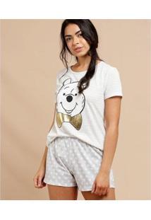 Pijama Feminino Estampa Pooh Manga Curta Disney - Feminino-Cinza