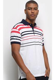 Camisa Polo Aleatory Fio Tinto Listras Masculina - Masculino-Marinho+Vermelho