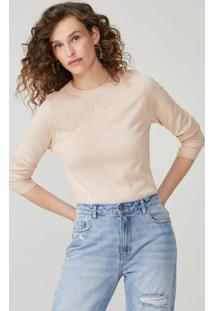 Amaro Feminino Suéter Tricot Básico, Rosa Claro