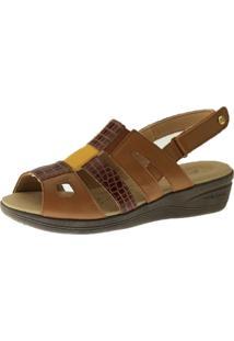 Sandalia Esporã£O Doctor Shoes 7804 Croco Marrom - Caramelo - Feminino - Dafiti