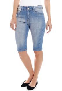 Bermuda Feminina Em Jeans Com Bolsos