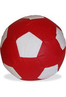 Puff Infantil Big Ball Futebol Courino Vermelho/Branco - Stay Puff