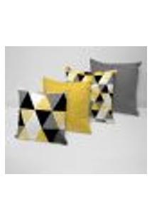 Kit 4 Capas Para Almofadas Decorativas Multi Triângulos Amarelos 35X35Cm