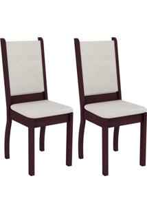 Conjunto Com 2 Cadeiras Viena Suede Tabaco E Pérola