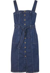 Vestido Feminino Em Jeans De Algodão Com Botões