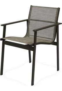 Cadeira Solano Assento Em Tela Sintetica Cor Cinza Com Base Aluminio - 44545 - Sun House