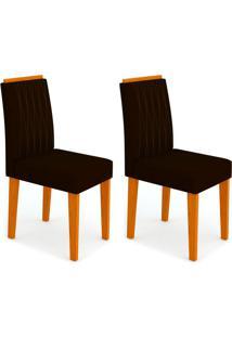 Conjunto Com 2 Cadeiras Ana I Ipê E Preto