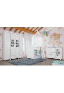 Dormitório Gabi / Guard. Roupa 4Pts / Cômoda / Berço Gabi Branco