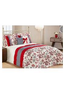 Kit Edredom Vitoria King Vermelho Com Porta Travesseiro Com 7 Peças