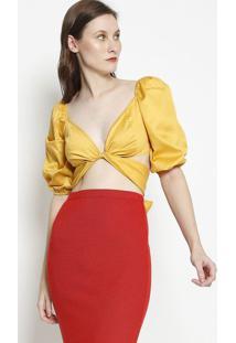 Blusa Cropped Com Transpasse- Amarela- Coca-Colacoca-Cola