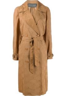 Alberta Ferretti Trench Coat Com Cinto - Neutro