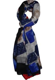 Echarpe Zohar Acessórios Quadricular Cinza/Azul