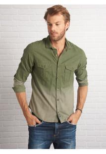 Camisa John John Stanley Verde Masculina (Verde Militar, M)