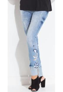 b2be1e0df1a Calça Bordada Quintess feminina. Calça Jeans Com Bordado Na Lateral Barra