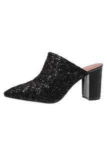 Scarpin Mule Di Scarp Calçados Rendado Salto Grosso (7,5 Cm) - Glitter Preto