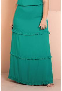 Saia Longa Babado Verde Plus Size