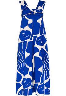 Issey Miyake Macacão Pantalona Com Padronagem - Azul
