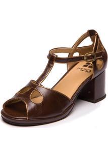 Sandália Mzq Em Couro Grace Kelly - Chocolate / Metalizado Bronze 5854