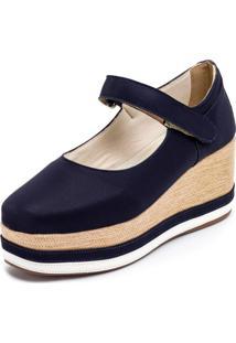 Tênis Anabela Mr Shoes Aberta Salto Médio Confortavel - Azul Marinho - Kanui