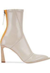 Fendi Ankle Boot Com Salto Estruturado - Cinza