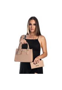 Bolsa Kit 2 Peças Feminina Metalasse Nude