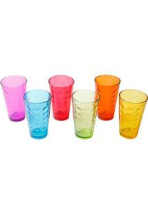 Conjunto De Copos Bubble- Colorido- 6Pçs- 350Ml
