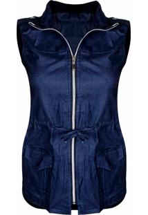 Colete Outletdri Casual Jeans Parka Bengaline Capuz Ziper Frontal Azul