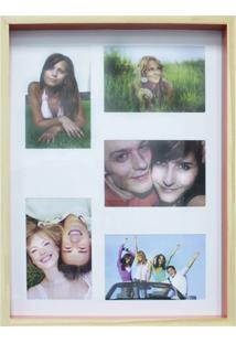 Quadro Para Fotos Wood Natural E Laranja 30X40Cm