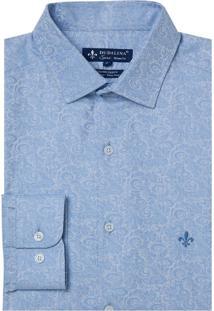 Camisa Dudalina Manga Longa Jacquard Fio Tinto Masculina (Azul Claro, 4)