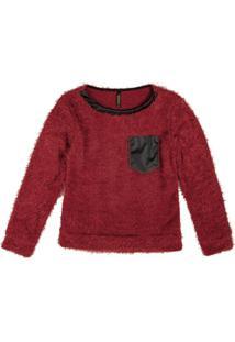 Blusão Em Tricô Pelinho Com Bolso Vermelho