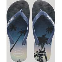 a1d871c90b Chinelo Masculino Havaianas Estampado De Coqueiros Azul Marinho