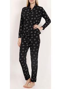 Pijama Longo Malha Feminino Preto
