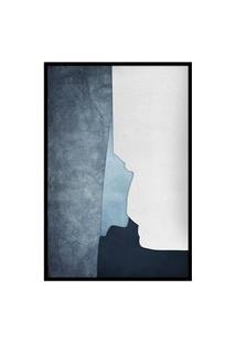 Quadro 90X60Cm Abstrato Geométrico Oriental Ireki Moldura Preta Com Vidro