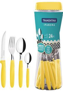 Faqueiro 24 Peças Tramontina 23399591 Ipanema Aço Inox Amarelo