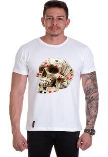 Camiseta Lucas Lunny T Shirt Gola Redonda Cranio Cartas Branca