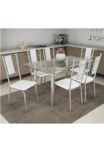 Conjunto Mesa Elba Com Tampo De Vidro E 6 Cadeiras Lisboa Cromado, Assento Cor Branco