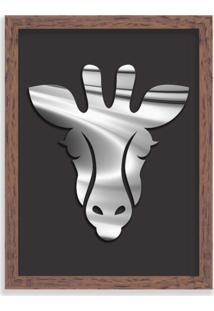 Quadro Decorativo Em Relevo Espelhado Zebra Prateada Madeira - Grande