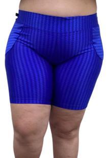 Shorts De Ikat Com Bolso Falso Corpusfit Plus Size - Azul Royal