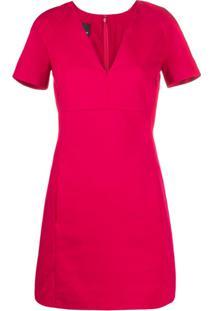 Pinko V-Neck Shortsleeved Dress - Vermelho