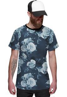 Camiseta Di Nuevo Estampada Flores Azul Fashion Azul