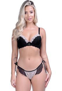 Conjunto Yasmin Lingerie Chic 22 Preto/Nude