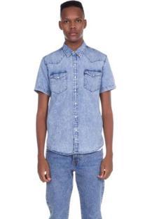 Camisa Jeans Levis Masculina Short Sleeve Classic Western Azul Médio Azul