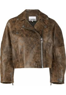 Ganni Washed Leather Short Jacket - Marrom
