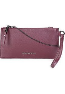 Bolsa Carteira Morena Rosa Case Alça Metal - Feminino-Bordô+Cinza