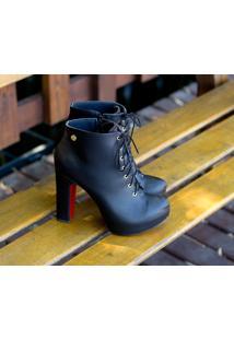 Ankle Boot Dm Extra Preta Dme179447 Numeração Especial Tamanhos Grandes 41, 42 E 43