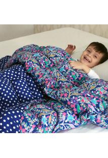 Cobertor Ponderado Artesanal Azul Florido Pequeno Teiajubinha