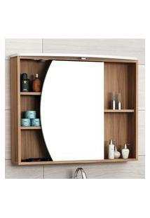 Espelheira Para Banheiro 1 Porta 4 Prateleiras Bosi Duna Led Nogal E Branco