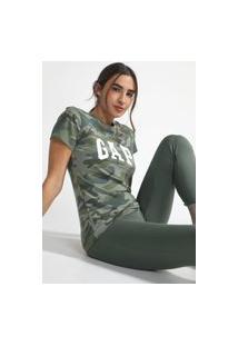 Camiseta Gap Camuflada Logo Verde
